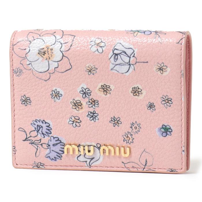 MIUMIU ミュウミュウ 5MV204 2EM5 F0XGV 二つ折りミニ財布 GEMMAP.TULIPAN