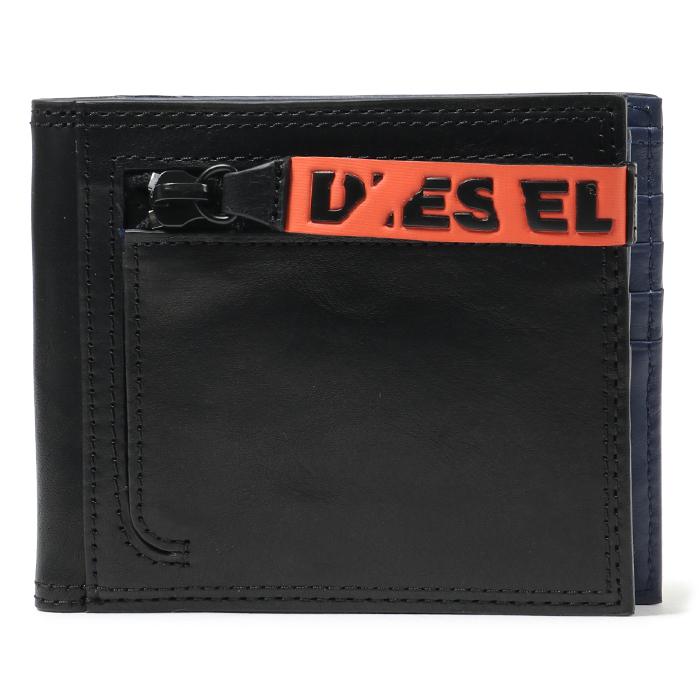 DIESEL ディーゼル X05831 P1092 NEELA S レザー 二つ折り財布 小銭入れ付 H6818