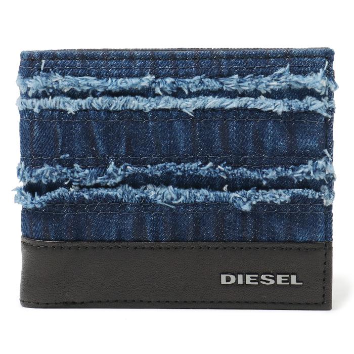 DIESEL ディーゼル X05823 PS315 HIRESH S デニム×レザー 二つ折り財布 H4933