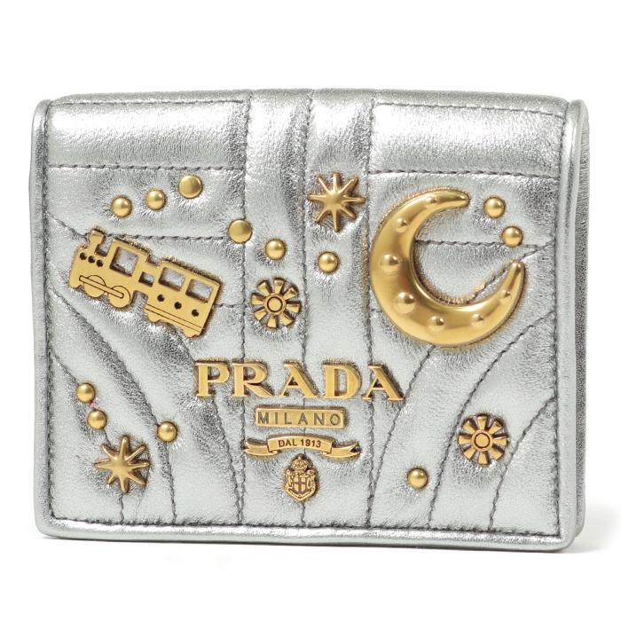 PRADA プラダ 1MV204 2B1C F0135 キルティングレザー スタッズ装飾 二つ折り財布 CROMO レディース