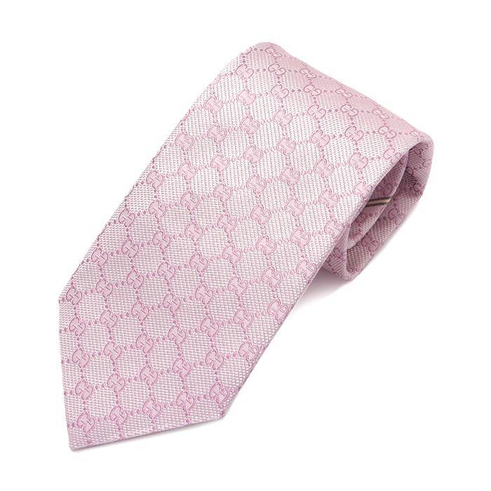 GUCCI グッチ 456522 4B002 5900 イタリア製 シルクネクタイ GGロゴ 5900/ピンク