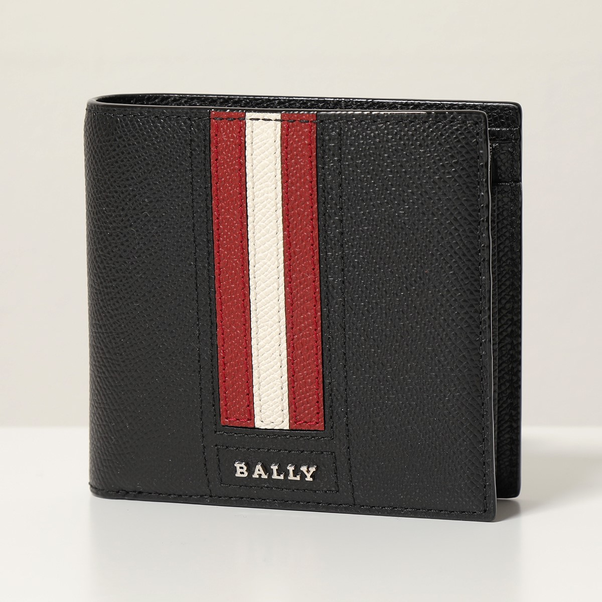 BALLY バリーTEISEL LT ボヴィンレザー コインウォレット 小銭入れ付き 二つ折財布 110/ブラックレッド メンズ