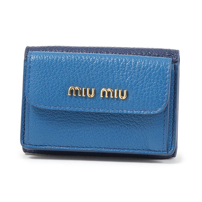 MIUMIU ミュウミュウ 5MH020 2BJI F0SDM レザー 三つ折り財布 ミニ財布 INCHIOSTRO/MARE レディース