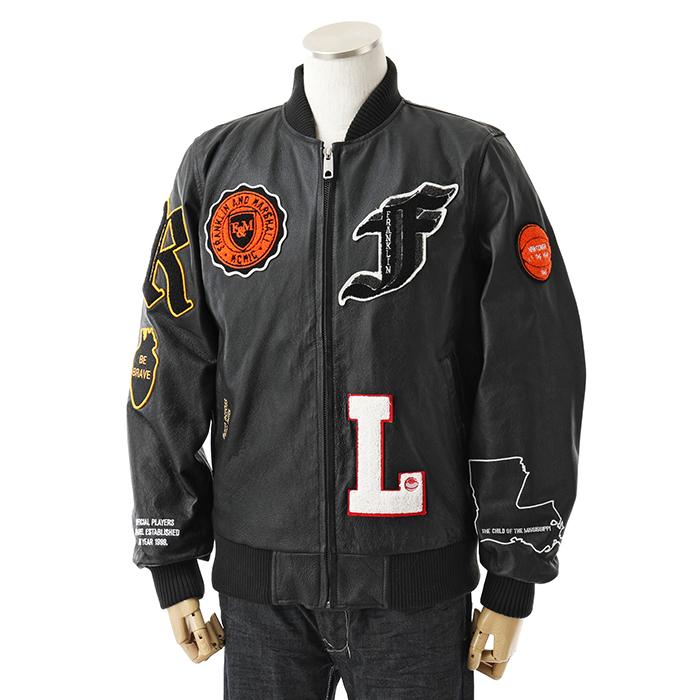 FRANKLIN&MARSHALL フランクリン&マーシャル JKMF433AN レザー 中綿 ボンバージャケット 0021/ブラック メンズ