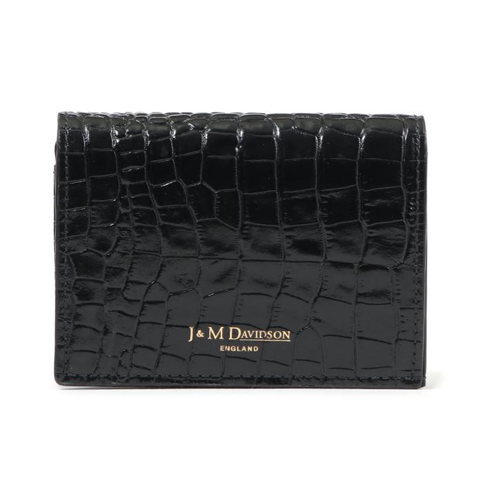 J&M DAVIDSON ジェイアンドエム デヴィッドソン 10148 7444 ONE FOLD WALLET クロコ型押し 二つ折りミニ財布 9990/black