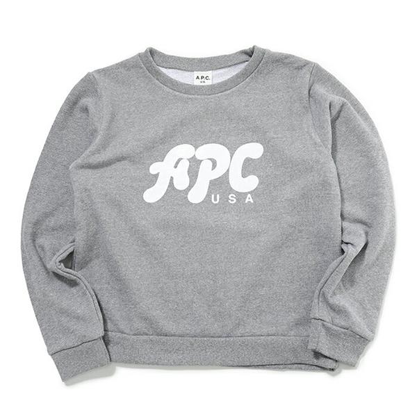 APC A.P.C. アーペーセー COCQZ F27447 sweat emma スウェットシャツ クルーネック GRISCHINE レディース
