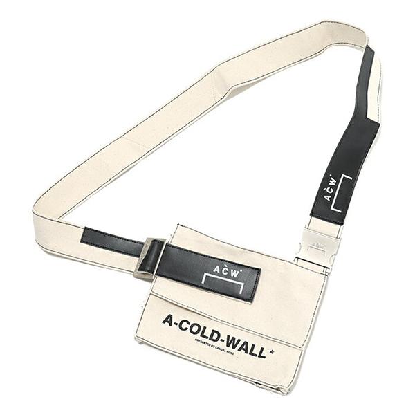 A-Cold-Wall* アコールドウォール CW8FXX00AP キャンバス ショルダーバッグ  B2/NATURAL-WHITE-BLACK