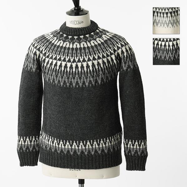 GUERNSEY WOOLLENS ガンジーウーレンズ ICELANDIC STYLED JUMPER クルーネック ニット セーター 2色 メンズ