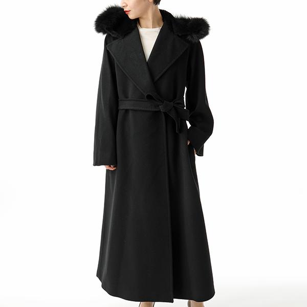 MAX MARA マックスマーラ CARELLA ファー装飾 ロング丈 ウールコート 013/BLACK