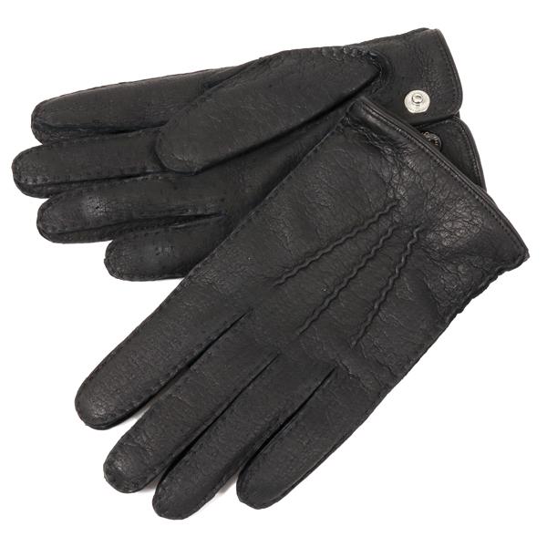 DENTS デンツ 15-1046 TRAFAGAR ペッカリーレザー グローブ カシミア 手袋 手ぶくろ アームウェア BLACK メンズ
