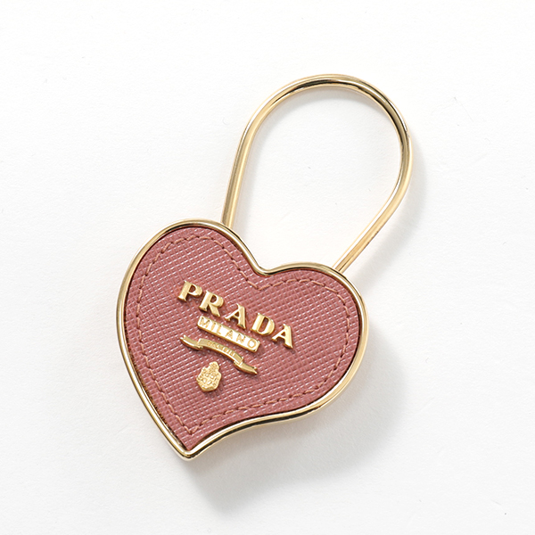 PRADA プラダ 1PP047 053 F0CBV0 メタル×レザー キーリング キーホルダー ロゴチャーム ANTICO-MORDORE レディース