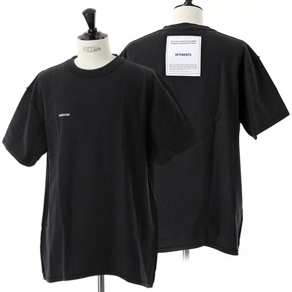 VETEMENTS ヴェトモン UAH19TR305 オーバーサイズ クルーネック 半袖 Tシャツ BLACK メンズ