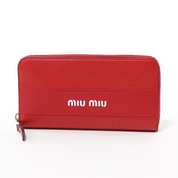 MIUMIU ミュウミュウ 5ML506 2BU4 F068Z レザー ラウンドファスナー 長財布 FUOCO レディース