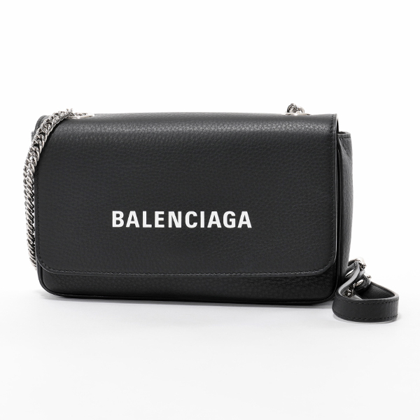 BALENCIAGA バレンシアガ 537387 DLQ4N 1000 Everyday エブリデイ チェーンウォレット レザー ショルダーバッグ ポシェット NOIR/L-BLANC レディース