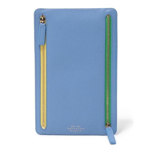 SMYTHSON スマイソン PANAMA ZIP CURRENCY CASE 1011604 レザー フラットポーチ ドキュメントケース NILE-BLUE レディース