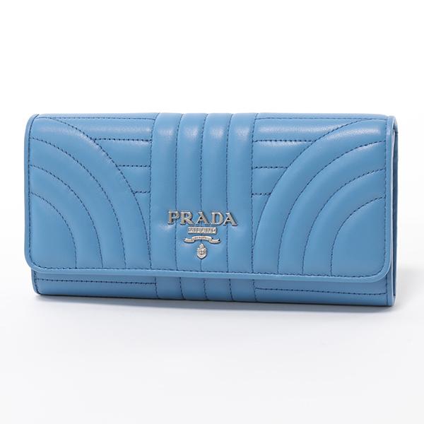 PRADA プラダ 1MH132 2D91 F0P9S キルティングレザー 二つ折り長財布 ロゴ金具プレート MARE レディース