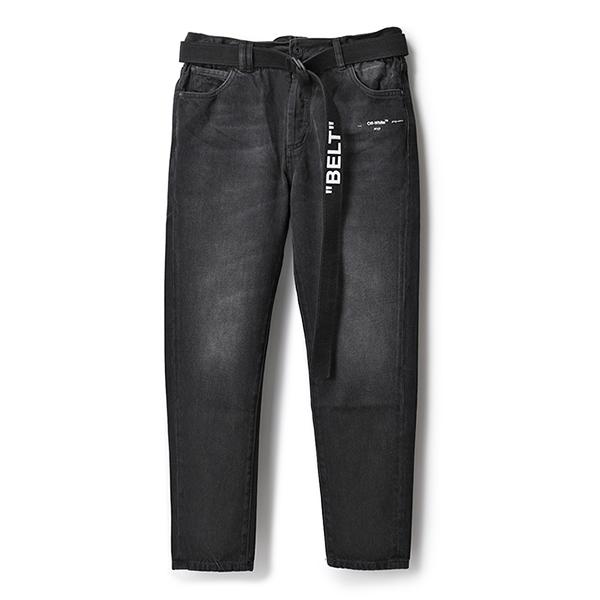 OFF-WHITE オフホワイト VIRGIL ABLOH OMYA005R19812032 SLIM LOW CROTCH ジーンズ ブラックデニム パンツ Dカンベルト付き 1088/BLACK メンズ