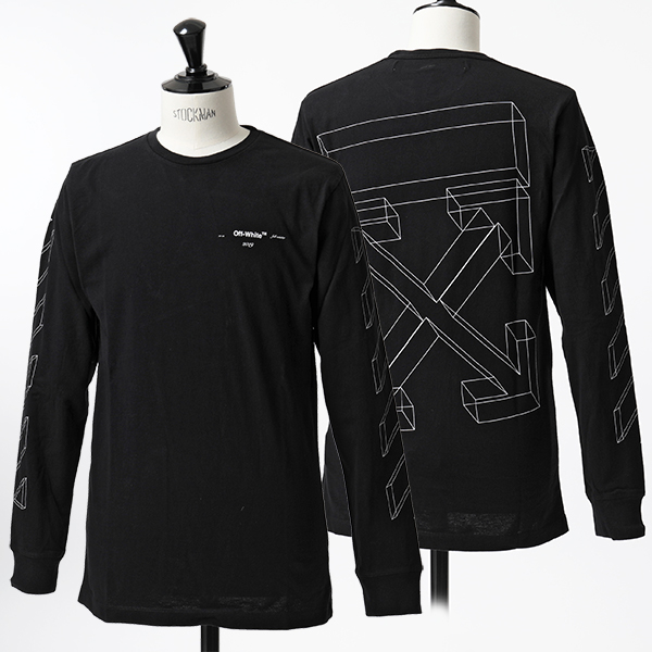 OFF-WHITE オフホワイト VIRGIL ABLOH OMAB001R19185075 DIAG 3D CARRY OVER L/S TEE クルーネック 長袖Tシャツ カットソー ロンT 1001/BLACK メンズ
