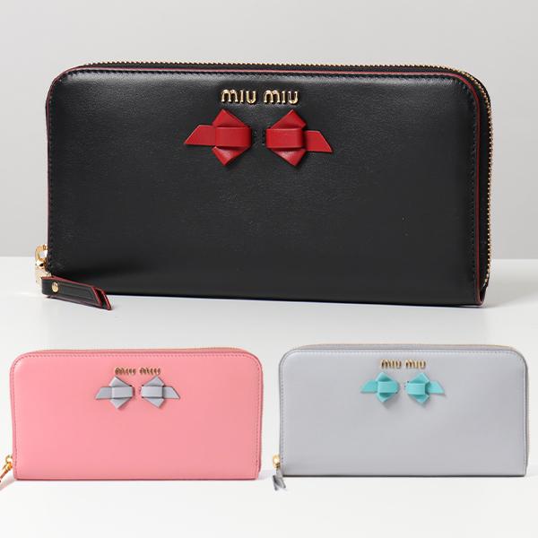 miumiu ミュウミュウ 5ML506 UEI LAMPO リボン レザー ラウンドファスナー 長財布 カラー4色 レディース