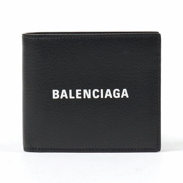 BALENCIAGA バレンシアガ 487435 DLQHN 1060 レザー 二つ折り財布 小銭入れ付き NERO メンズ