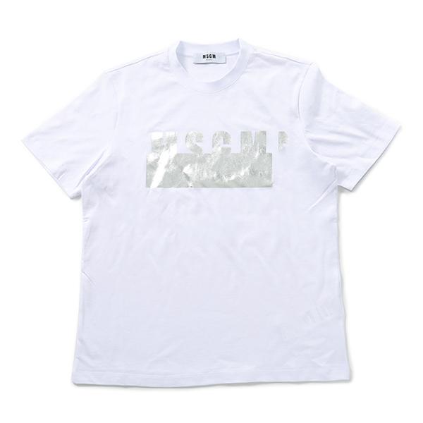 MSGM エムエスジーエム 2641 MDM180 半袖 Tシャツ カットソー クルーネック 丸首 01/ホワイト レディース