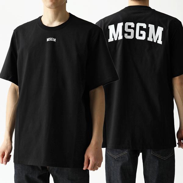 MSGM エムエスジーエム 2641 MDM179 オーバーサイズ 半袖 Tシャツ クルーネック ビッグシルエット カットソー 99/ブラック
