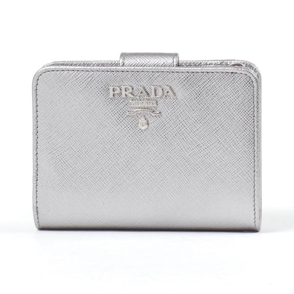 PRADA プラダ 1ML018 QWA F0135 メタリックレザー 二つ折り財布 ミディアム財布 スモール財布 ロゴメタルプレート CROMO レディース