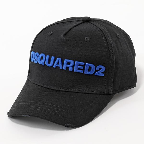 DSQUARED2 ディースクエアード BCM0028 05C00001 M651 立体ロゴ刺繍 ベースボールキャップ 帽子 NERO+BLU メンズ