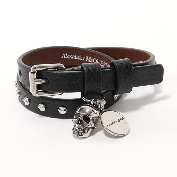 ALEXANDER MCQUEEN アレキサンダー・マックイーン 554466 1AC9Y 1000 スカルチャーム スタッズ装飾 レザー ブレスレット 2重ベルト メンズ