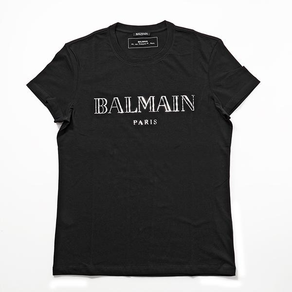 BALMAIN バルマン RH11601 I055 0PA クルーネック 半袖 Tシャツ カットソー メタリックロゴT 丸首 メンズ