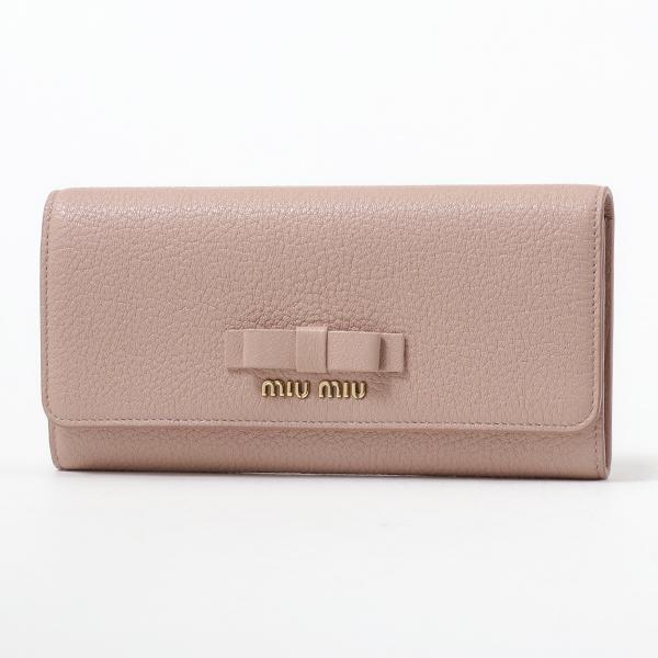 MIUMIU ミュウミュウ 5MH109 3R7 F0615 レザー リボン 二つ折り長財布 パスケース付き ORCHIDEA レディース