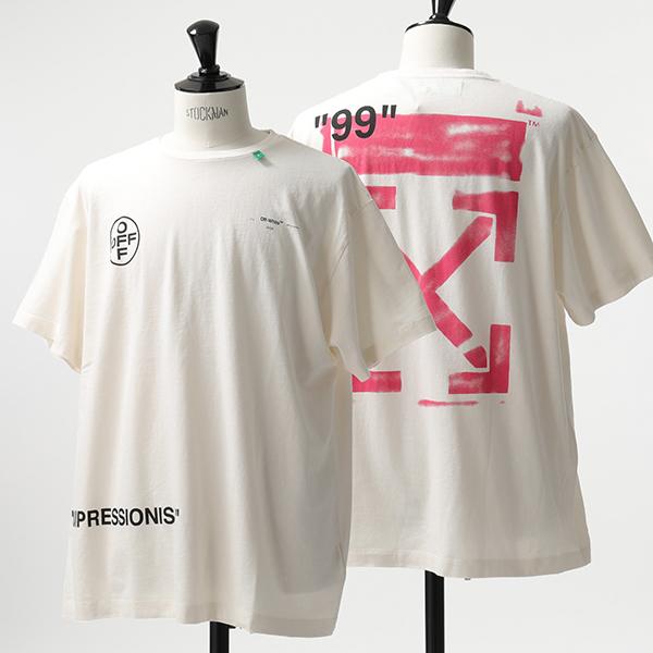 OFF-WHITE オフホワイト OMAA038 R19 185015 STENCIL S/S OVER TEE クルーネック 半袖 Tシャツ 0228/WHITE-FUCHSIA メンズ