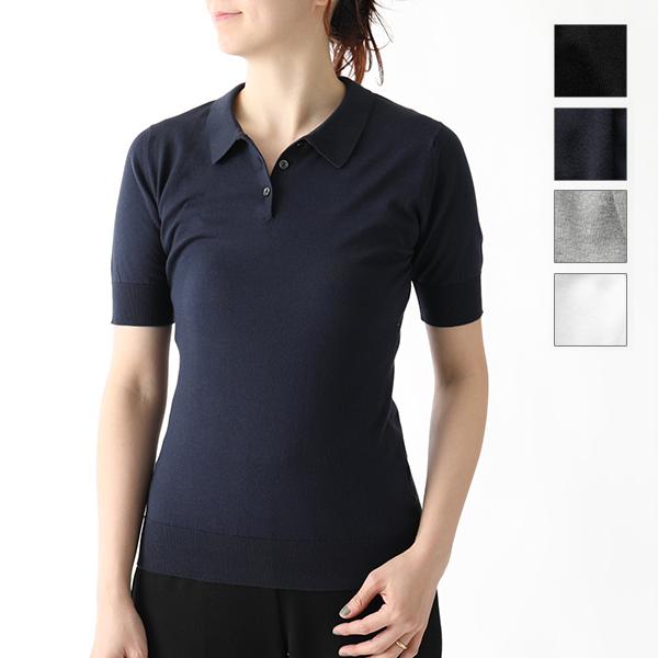 JOHN SMEDLEY ジョンスメドレー PICNIC SLIM FIT 半袖 ポロコットンニット カラー ニット セーター ポロシャツ コットンニット カラー4色 レディース