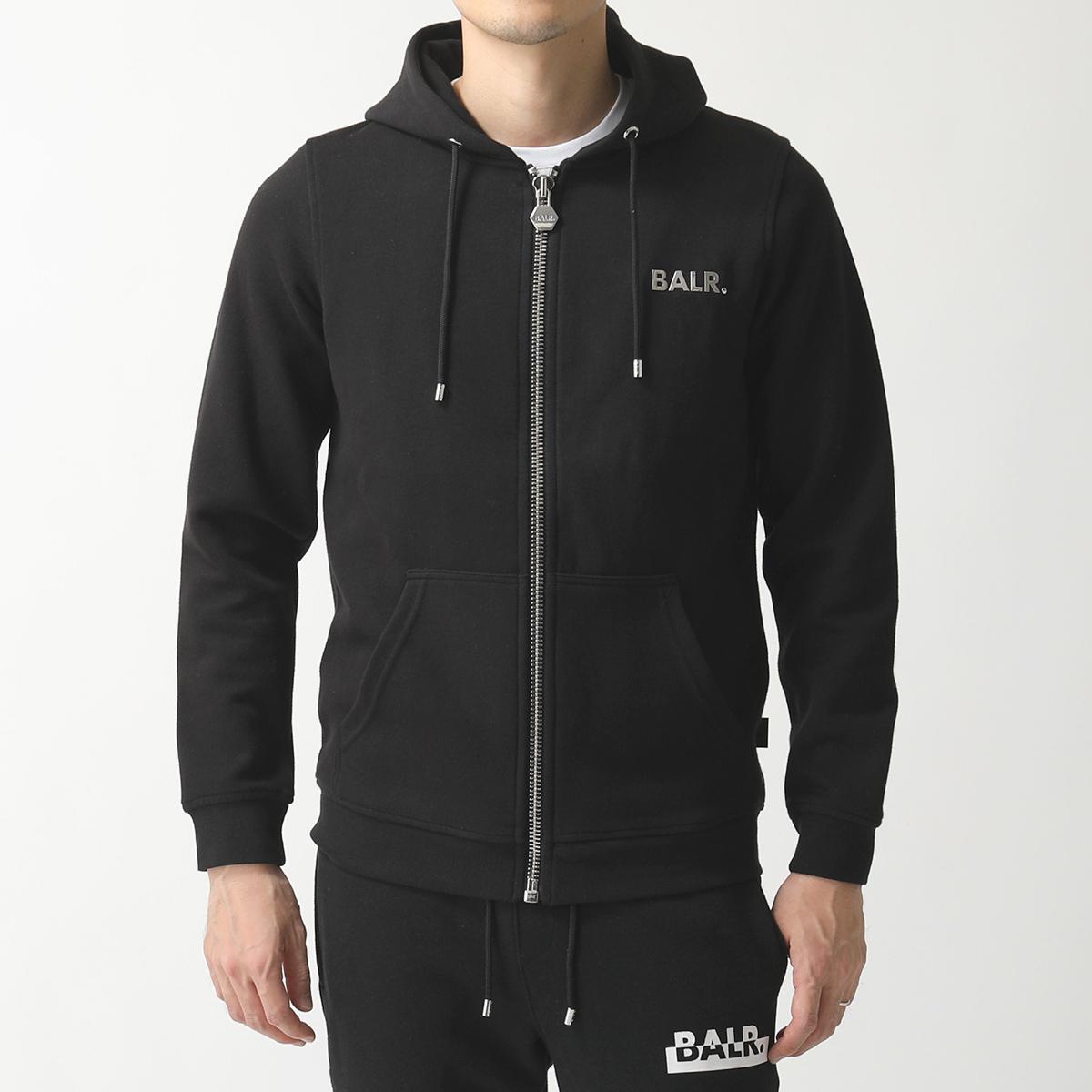 BALR. ボーラー Q-Series Zipped Hoodie スウェット ジップアップ パーカー ロゴメタルプレート Black メンズ