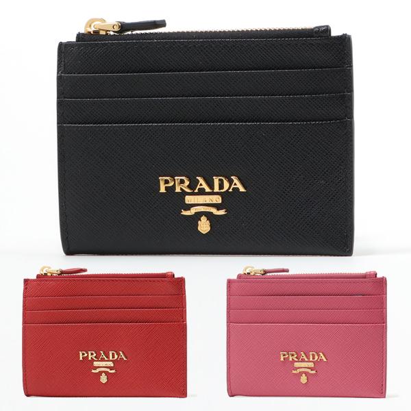 PRADA プラダ 1MC026 QWA レザー コインケース カードケース 小銭入れ ミニ財布 豆財布 ロゴ金具プレート カラー3色 レディース