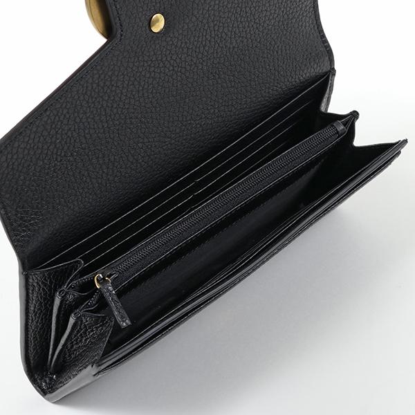 GUCCI グッチ 400586 A7M0T レザー 二つ折り長財布 GGマーモント 1000/ブラック レディース