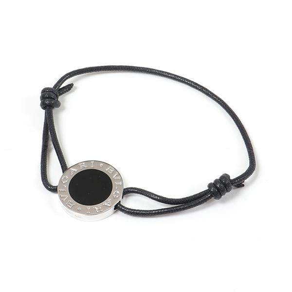 BVLGARI ブルガリ 30990 ABU Silver Bracelets Jewellery アイコン ブレスレット コットンレース black/silver ユニセックス