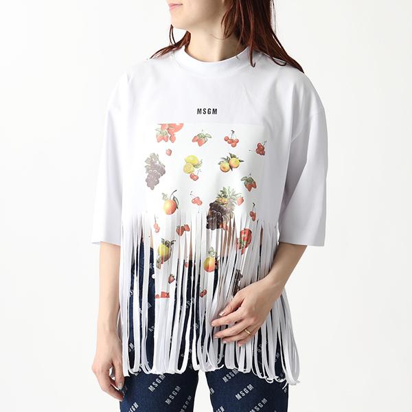MSGM エムエスジーエム 2641 MDM64 クルーネック 半袖 Tシャツ フリンジ カットソー 01/ホワイト レディース
