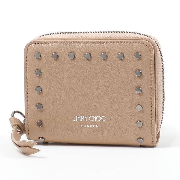 Jimmy Choo ジミーチュウ REGINA REK レザー 二つ折り財布 ミディアム スモール財布 BALLET-PINK レディース