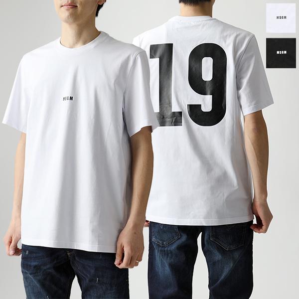 MSGM エムエスジーエム 2640 MM184 半袖 Tシャツ カットソー クルーネック ちびロゴ×ナンバー オーバーサイズ カラー2色 メンズ