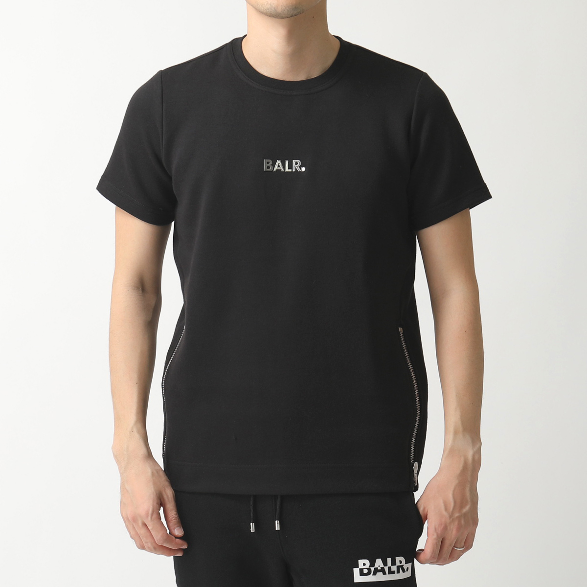 BALR. ボーラー Q-SERIES QS Short Sleeve Sweater スウェット 半袖 Tシャツ カットソー メタルロゴ Black メンズ