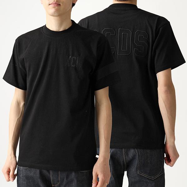 GCDS ジーシーディーエス CC94U20077 クルーネック 半袖 Tシャツ カットソー ロゴ刺繍 BLACK ユニセックス メンズ