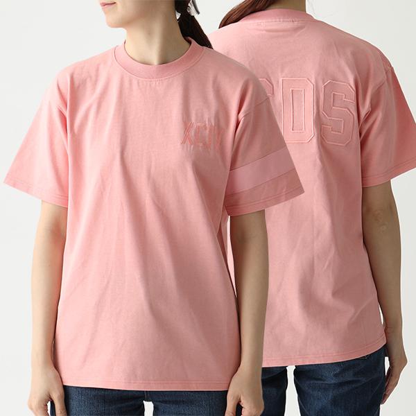 GCDS ジーシーディーエス CC94U20077 クルーネック 半袖 Tシャツ カットソー ロゴ刺繍 ROSA レディース