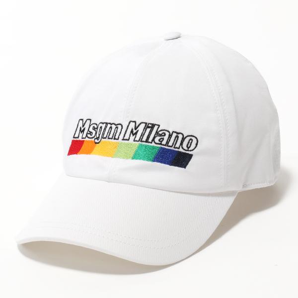 MSGM エムエスジーエム ML07 ロゴ刺繍 コットン ベースボールキャップ 帽子 スポーツ カラー01/ホワイト ユニセックス