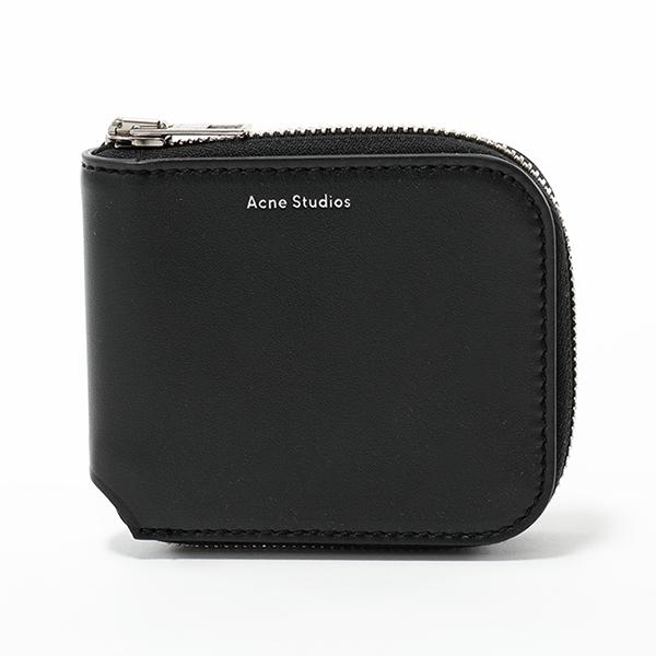 Acne Studios アクネ ストゥディオズ 1TC174 900000 KEI S レザー 二つ折り財布 ミニ財布 豆財布 小銭入れなし Black メンズ