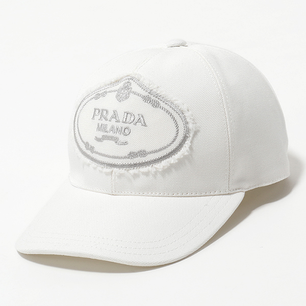PRADA プラダ 1HC274 010 F0009 コットン ベースボールキャップ 帽子 ロゴ刺繍 BIANCO レディース