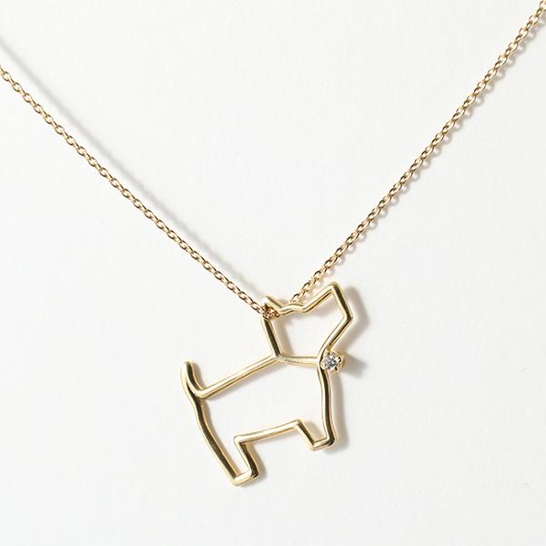 ALIITA アリータ PERRITO FABRIC クリスタル ストーン 犬 ネックレス ペンダント アクセサリー 9KT-YELLOWGOLD WHITE DIAMOND レディース