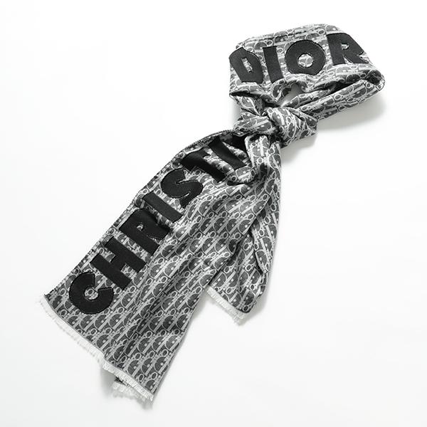 【エントリーでポイント最大19倍!6月30日限定】Dior ディオール 92E0013A 0080 889 Dior Obliqueモチーフ ロゴ ウール シルク ストール ショール ユニセックス