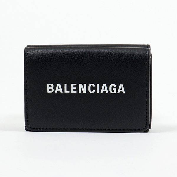 BALENCIAGA バレンシアガ 551921 DLQ4N 1000 三つ折り財布 ミニ財布 BLACK/L-WHITE レディース