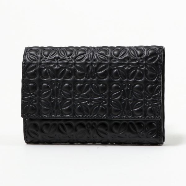 LOEWE ロエベ 107. 55. S97 SMALL VERTICAL アナグラム レザー 三つ折り財布 スモール ミニ財布 1100-NEGRO/BLACK レディース